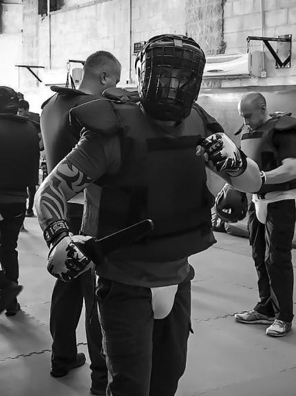 Cadet in protective gear during an instructor course in Israel
